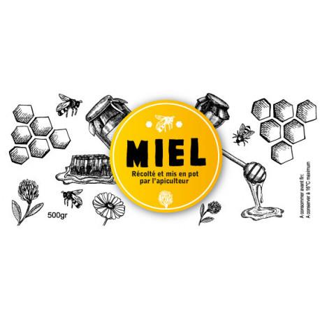 Etiquette MIEL récolté par l'apiculteur 500gr