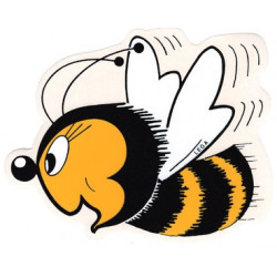 Autocollant détouré - grande abeille sympathique