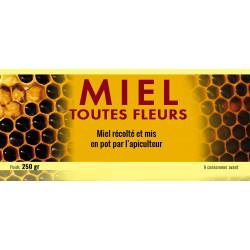 Etiquettes MIEL TOUTES FLEURS - motif  alvéoles - 250 gr