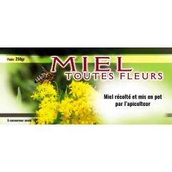 Etiquettes MIEL TOUTES FLEURS - fleurs jaunes - 250 gr
